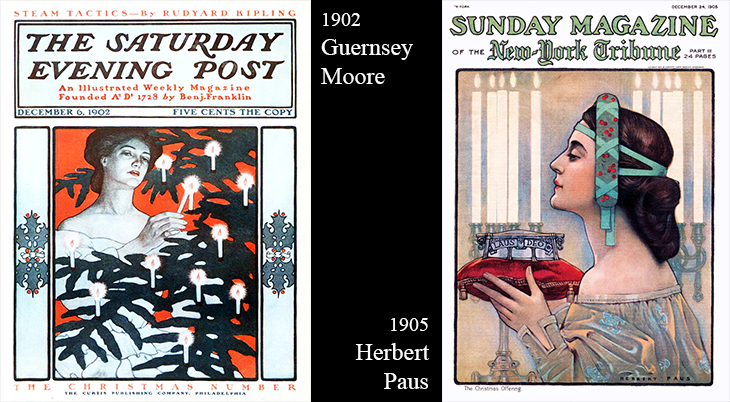 christmas, vintage, magazine covers, american artists, illustrators, illustrations, paintings, water colorist, painter, guernsey moore, the saturday evening post, herbert paus, sunday magazine, 1902, 1905