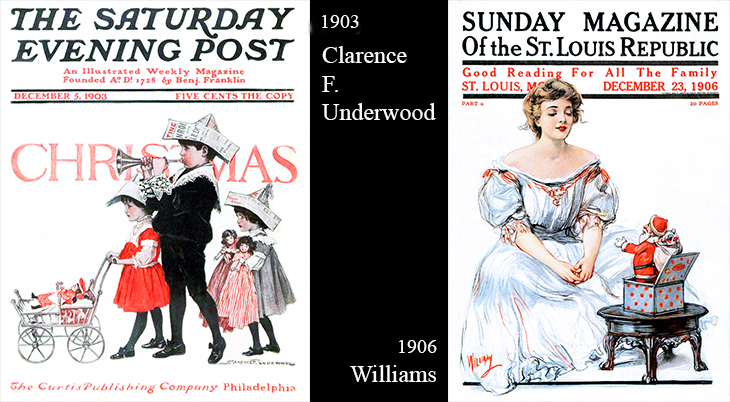 christmas, magazine covers, american artists, illustrators, illustrations, paintings, water colorist, painter, clarence f underwood, williams, the saturday evening post, sunday magazine, 1903, 1906,