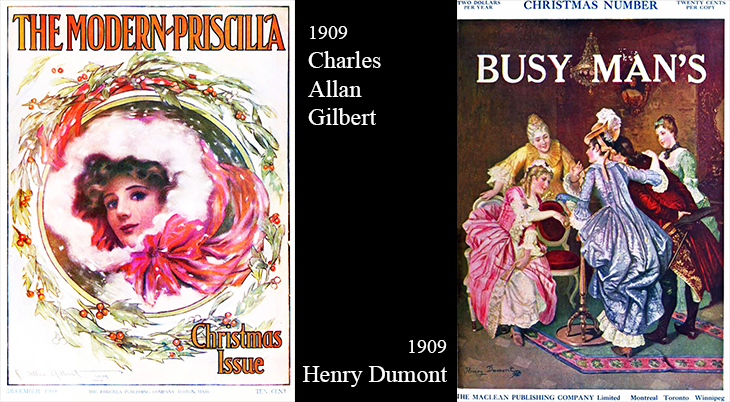 christmas, magazine covers, american artists, illustrators, illustrations, paintings, water colorist, painter, henry dumont, busy mans magazine, macleans, charles allan gilbert, the modern priscilla, 1909,vintage