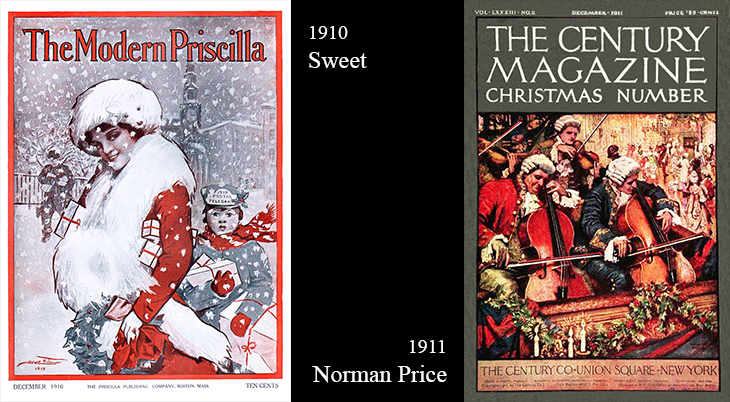 christmas, vintage, magazine covers, american artists, illustrators, illustrations, paintings, water colorist, painter, sweet, the modern priscilla, norman price, the century magazine, 1910, 1911,