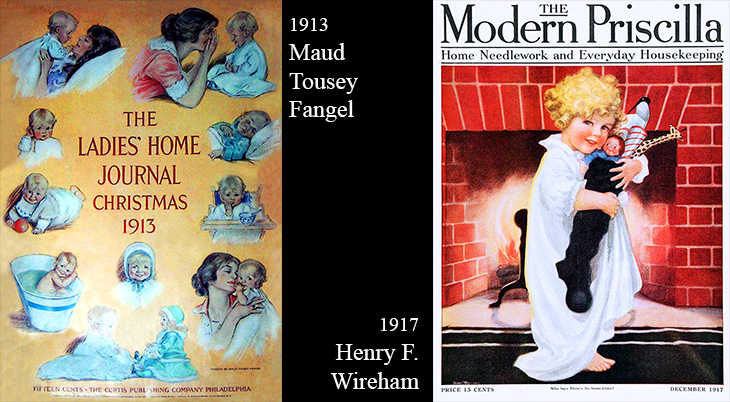 christmas, vintage, magazine covers, american artists, illustrators, illustrations, paintings, water colorist, painter, maud tousey fangel, the ladies home journal, henry f wireman, the modern priscilla, 1913, 1917,