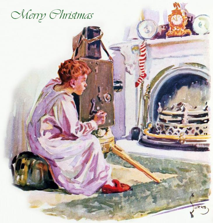 christmas card, american artist, shrke, christmas night, fireplace, stockings, child photographer, magazine cover, illustrations, painting, film fun, illustration