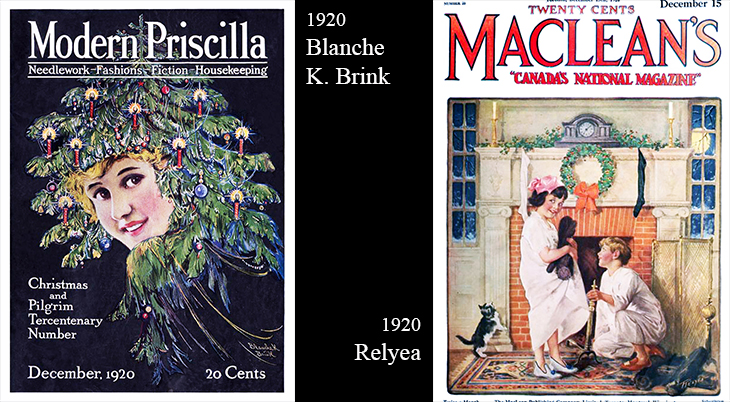 christmas, vintage, magazine covers, american artists, illustrators, illustrations, paintings, water colorist, painter, blanche k brink, the modern priscilla, relyea, macleans magazine, 1920