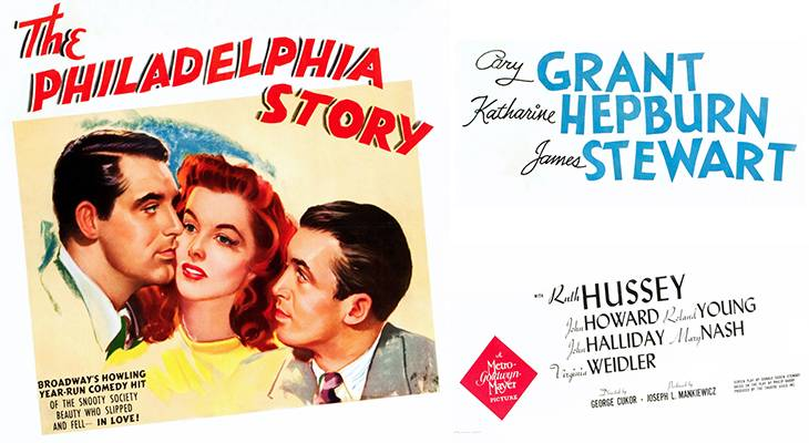 1940, classic movies, the philadelphia story, color poster, american actor, james stewart, actress, katharine hepburn, film stars, cary grant, romantic comedy movie