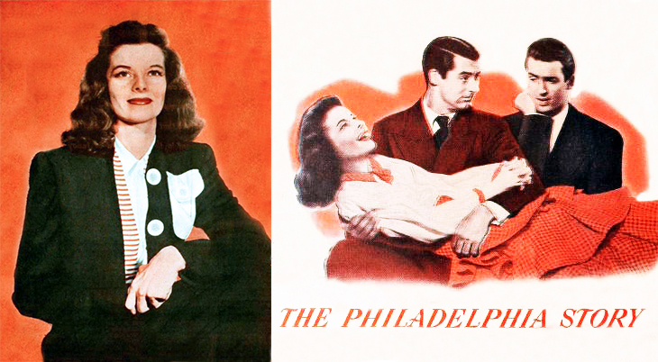 1940, classic movies, the philadelphia story, american actor, james stewart, actress, katharine hepburn, film stars, cary grant, romantic comedy movie, color photo