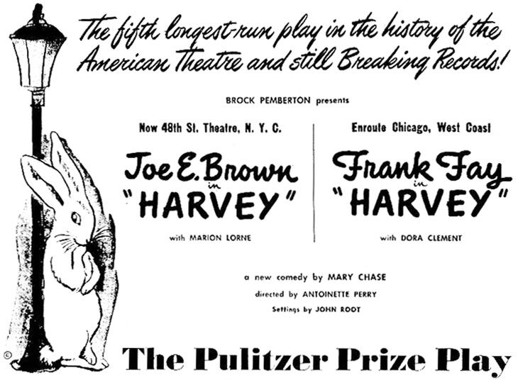 1949, broadway, plays, comedy, harvey, elwood p dowd, invisible rabbit, pooka, american actors, frank fay, joe e brown