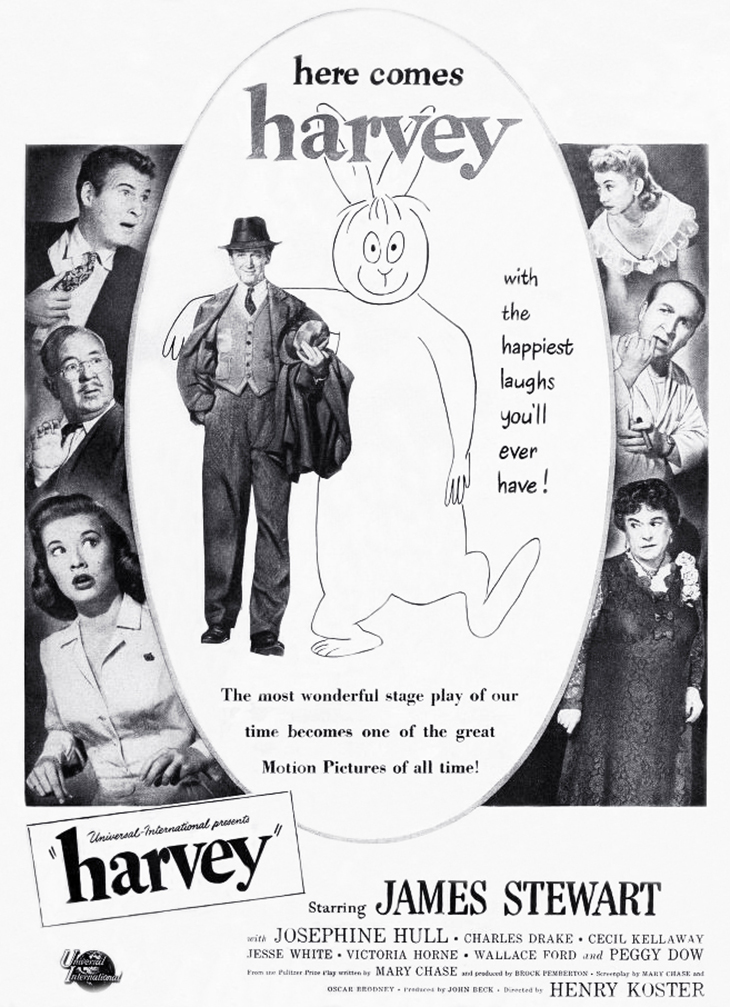 1950 films, classic movies, comedy films, harvey, american actors, james stewart, elwood p dowd, charles drake, cecil kellaway, jesse white, movie stars, actress, josephine hull, peggy dow, victoria horne,
