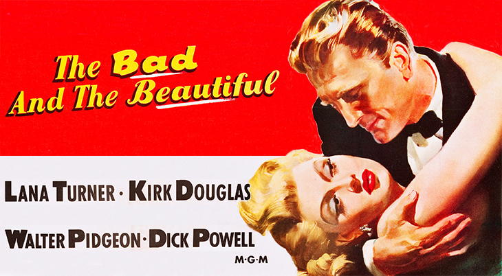 1952, classic movie, the bad and the beautiful, poster, american actors, kirk douglas, lana turner, film stars,