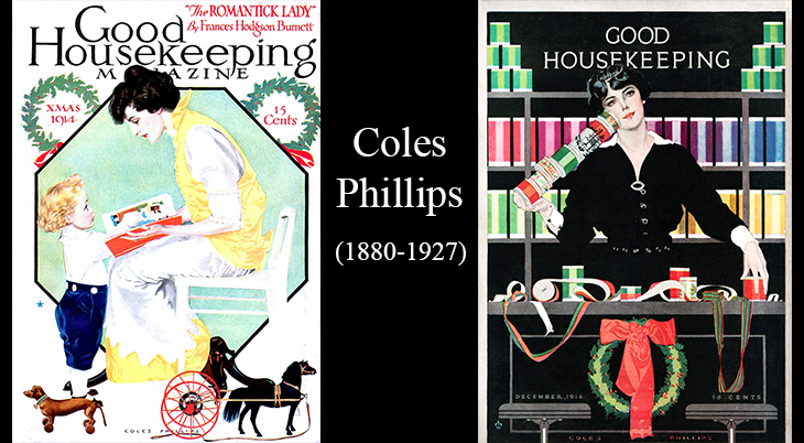 christmas, magazine covers, 1914, 1916, good housekeeping, artist, illustrator, illustrations, paintings, water colorist, coles phillips, negative space,american graphic designer
