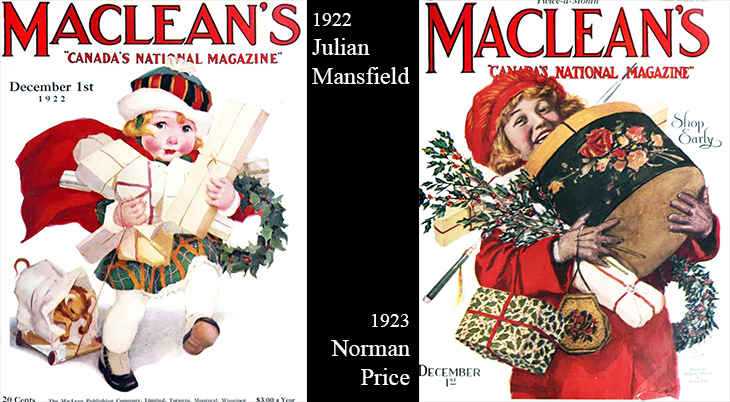 christmas, vintage, magazine covers, american artists, illustrators, illustrations, paintings, water colorist, painter, 1922, december, julian mansfield, macleans magazine, 1923, norman price
