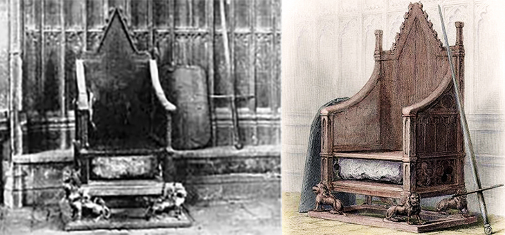 stone of scone, stone of destiny, jacobs pillow stone, tanist stone, coronation chair, king edwards chair, 1855, 1937, english monarch coronations, westminster abbey