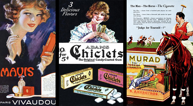 1921, advertising, ads, murad, turkish cigarettes, turkish tobacco, polo, mavis, face powder, cosmetics, vivaudou, adams gum, chiclets,
