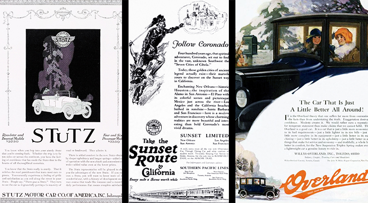 1921, automobiles, cars, vintage, old, stutz, willys overland, southern pacific lines, train, travel, transportation, vehicles