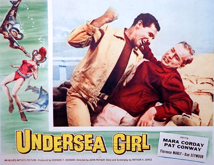 pat conway, american actor, 1957, movies, undersea girl, costars, mara corday, dan seymour,