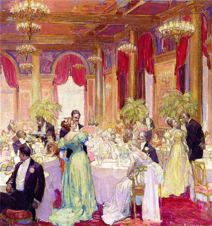 waldorf astoria hotel, dancing, ballroom, 1896, new york city, manhattan, fifth avenue, 33rd street corner, 34th street corner, painting, hubert von herkomer