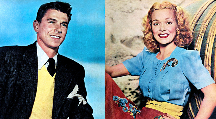 ronald reagan, american actor, movie stars, actress, jane wyman, celebrity couples, 1940s films, costars, brother rat, brother rat and a baby, an angel in texas, tugboat annie sails again, its a great feeling