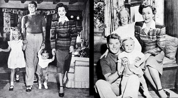 ronald reagan, american actor, movie stars, actress, jane wyman, celebrity couples, family, children, maureen reagan, michael reagan, 1946