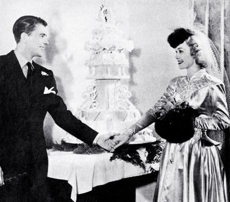 ronald reagan, american actor, movie stars, actress, jane wyman, celebrity couples, january 1940, wedding