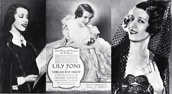 lily pons, 1931, 1935, 1936, french singer, opera star, metropolitan opera diva, coloratura soprano, movies, that girl from paris, street girl, i dream too much, film star