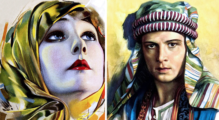 1921, silent films, movie stars, american actor, rudolph valentino, adventure movies, dramas, screen idols, actress, betty blythe, artists, paintings, rolf armstrong, flohri, 1922