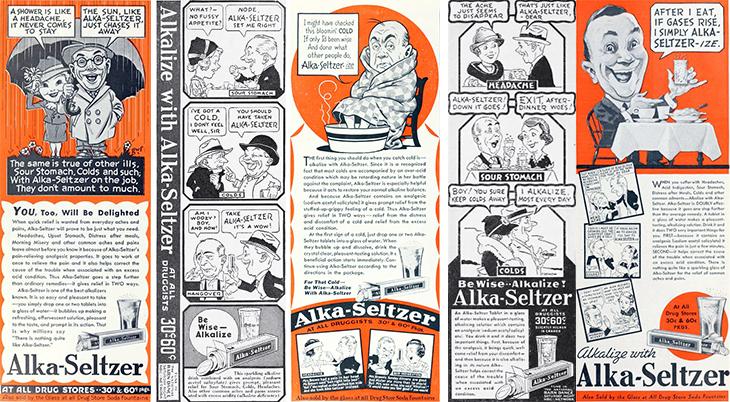 alka seltzer, 1930s, advertising, advertisements, print ads, 1936, 1937, 1938,