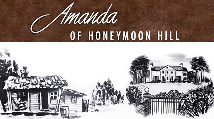 1940, february, radio, programs, vintage, old time, soap operas, serials, amanda of honeymoon hill, 1940s, 1941, illustrations, valley cabin, white house, leighton mansion