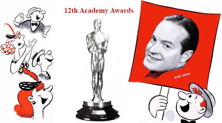 bob hope, 1940, february, american actor, comedian, awards host, 12th academy awards, oscar, awards ceremony, 1939 films, statuette