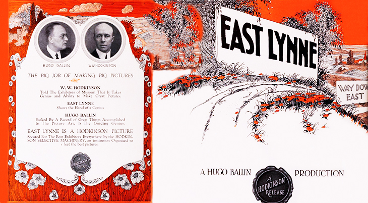 east lynne, 1921, silent movie, film ad, producer, hugo ballin, w w hodkinson,