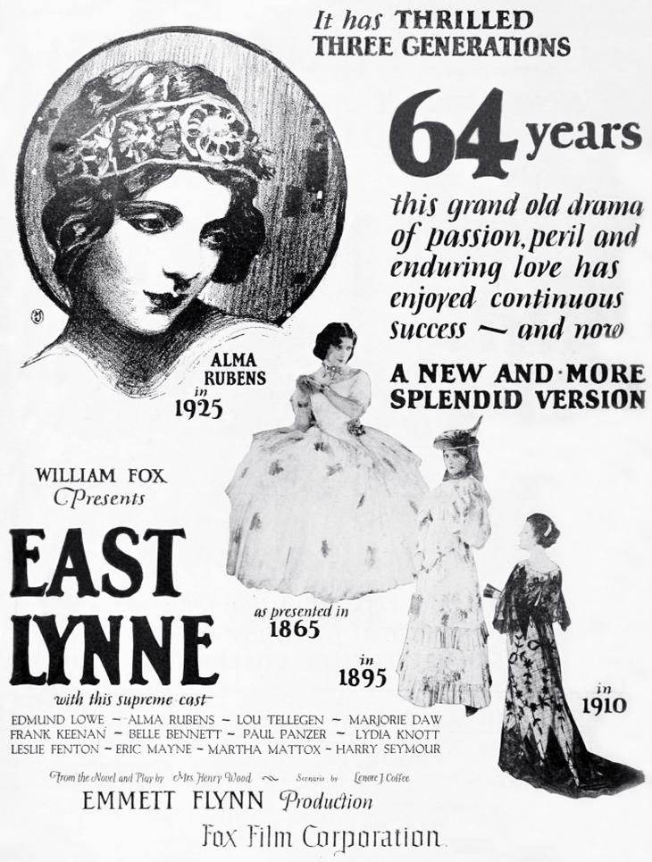 east lynne, 1925, classic movies, fox films, american actors, silent movies, alma rubens, film stars,