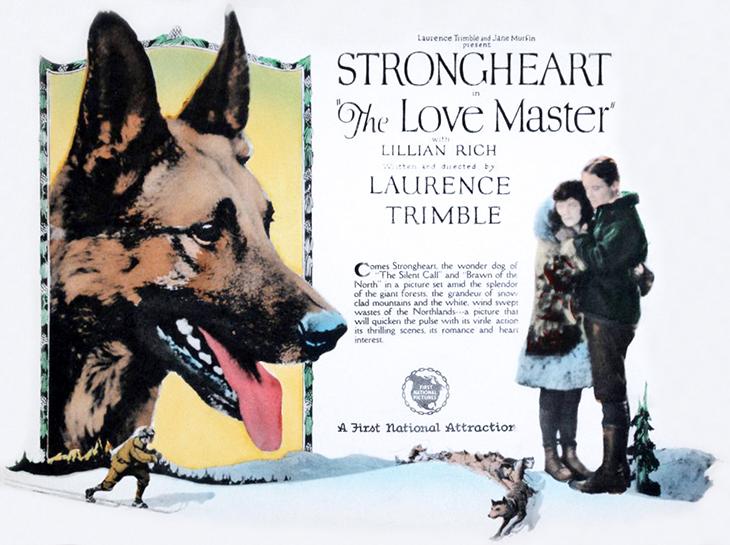 strongheart, 1924, movie dog, silent films, german shepherd, police dog, laurence trimble movies, the love master, movie poster, animal actors, silent movie stars, vivian rich, harold austin