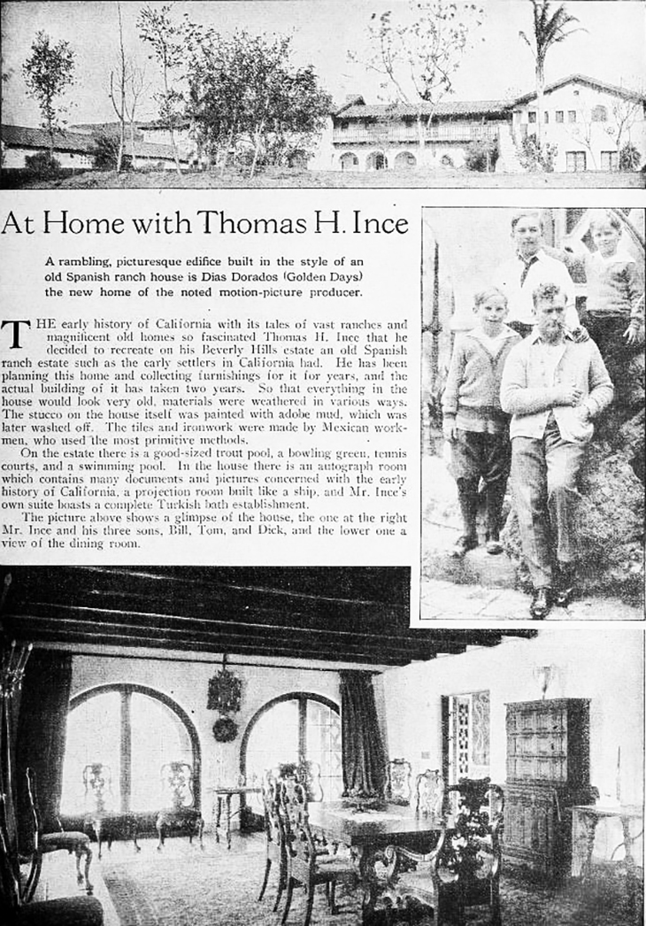 thomas h ince, william ince, thomas ince jr, richard ince, american producer, filmmaker, silent movies, director, actor, 1924, film star home, dias dorados, beverly hills estates, benedict canyon drive