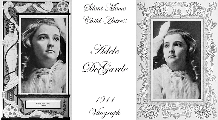 adele degarde, american actress, child actor, silent films, movies, jean goes fishing, a tin type romance, vitagraph, illustrated frames, vintage photos