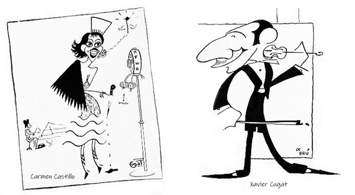 xavier cugat, cuban artist, spanish, bandleader, carmen castillo, singer, latin music, caricaturist, caricatures, actress, actor, film stars, movie star, de bru, 1928
