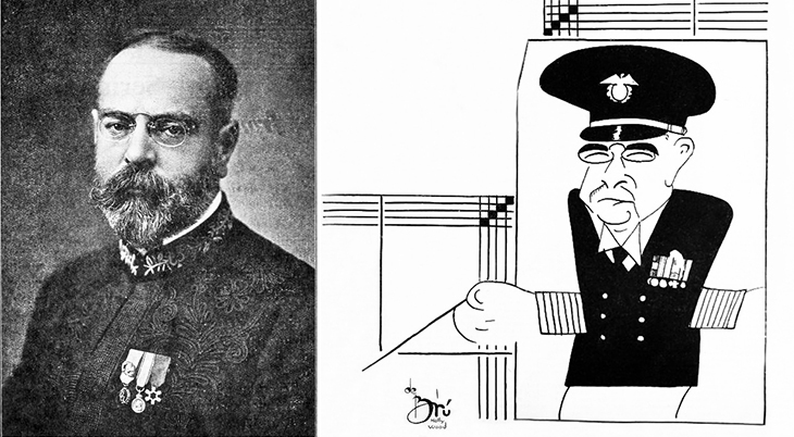 xavier cugat, cuban artist, spanish, caricaturist, caricatures, american bandleader, composer, john philip sousa, the stars and stripes forever, marches, 1909, 1930
