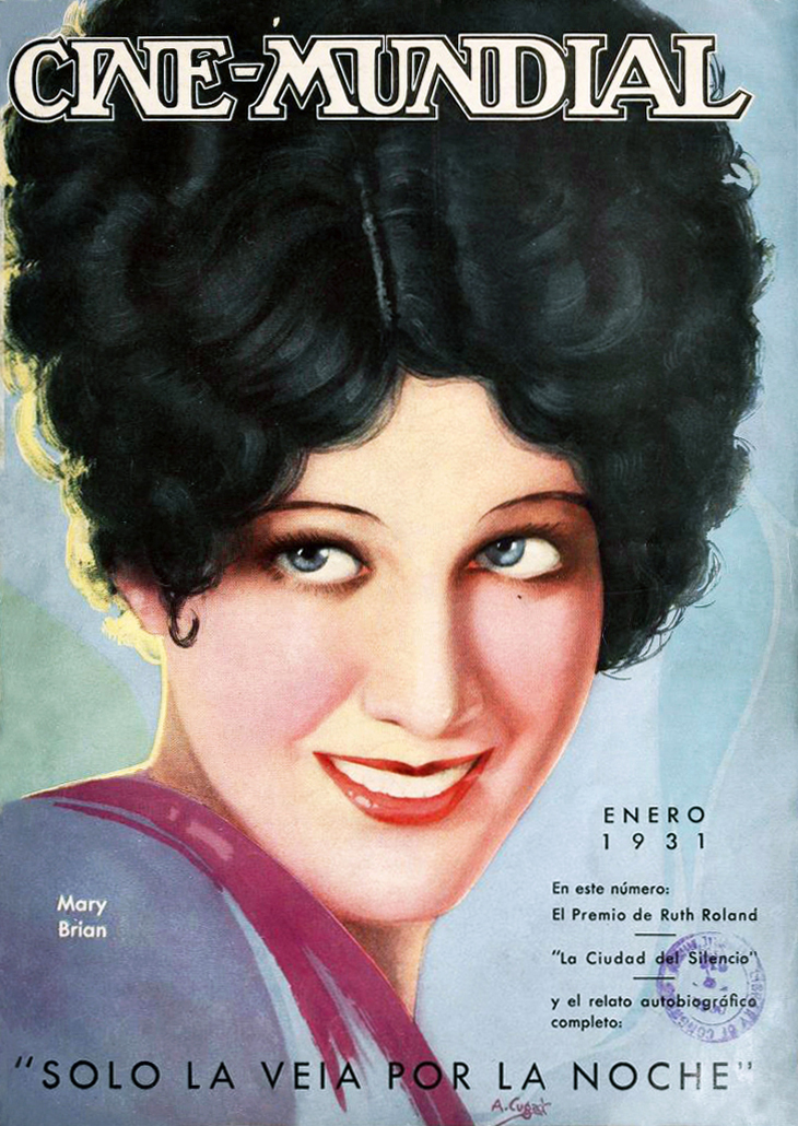 1931, january, cine mundial, magazine cover, american actress, film star, mary brian, movies, spanish language, fan magazines, painting, a cugat, artist,