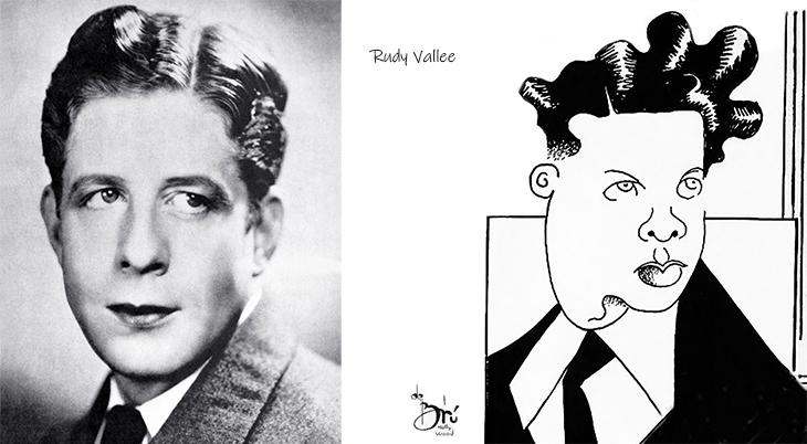 xavier cugat, cuban artist, spanish, caricaturist, caricatures, american actors, film stars, movie star, singer, rudy vallee, 1931, 1930