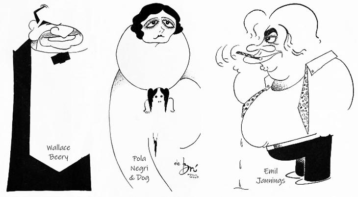 xavier cugat, cuban artist, spanish, caricaturist, caricatures, american actors, film stars, wallace beery, pola negri, emil jannings, 1927, 1929, de bru