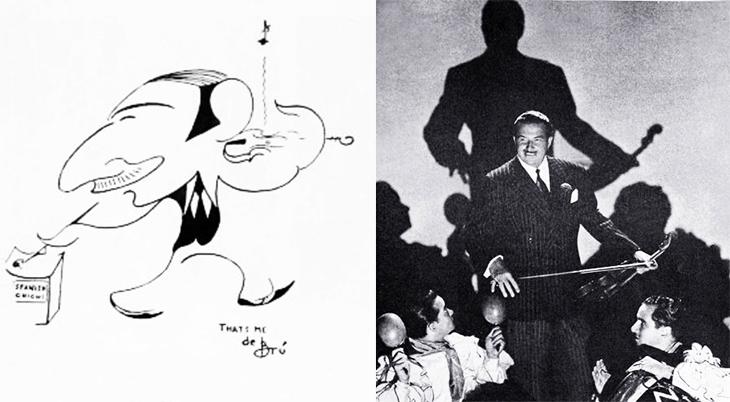 xavier cugat, cuban, spanish, latin, musician, violinist, bandleader, artist, caricaturist, de bru, caricature1927, 1944, orchestra leader