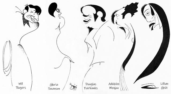 xavier cugat, cuban artist, spanish, caricaturist, caricatures, american actors, film stars, movie star, will rogers, gloria swanson, douglas fairbanks, adolphe menjou, lillian gish