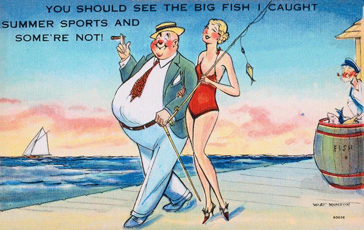walt munson, american, cartoonist, artist, illustrator, comic strips, cartoons, funny, jokes, humor, travel, postcards, 1940s, 1950s, you should see the big fish i caught, beach, sailboat, fishing, boardwalk