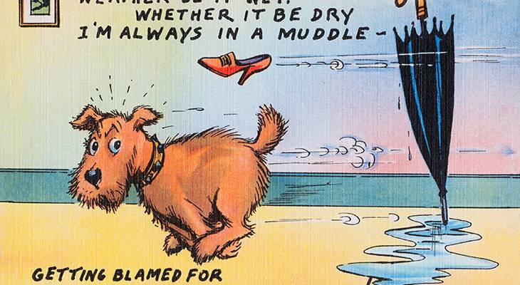 walt munson, american, cartoonist, artist, illustrator, comic strips, cartoons, funny, travel, postcards, 1940s, 1950s, im always in a muddle,