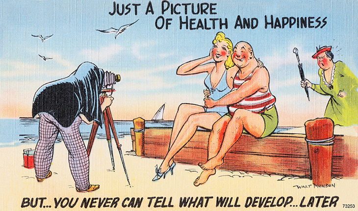 walt munson, american, cartoonist, artist, illustrator, comic strips, cartoons, funny, jokes, humor, travel, postcards, 1940s, 1950s, just a picture of health and happiness, beach, angry wife, photographer, blonde