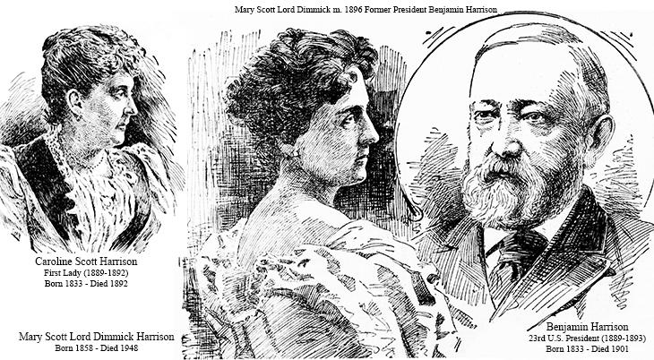caroline lavinia scott harrison, mary scott lord dimmick harrison, president benjamin harrison, 1890s, american presidents, first lady, 1880s, harrison family of virginia