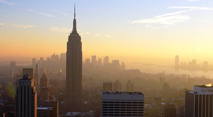 empire state building, manhattan, 350 fifth avenue, new york city, worlds tallest building, iconic, art deco, skyscraper, office tower,2005, sunset, sunrise