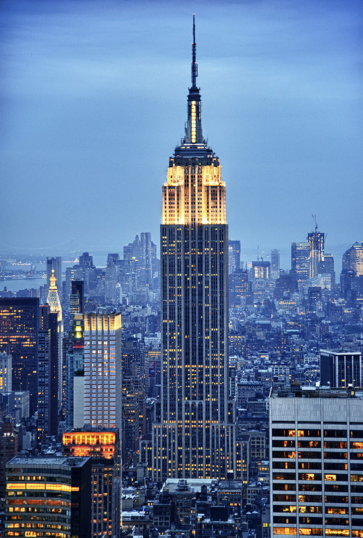 empire state building, manhattan, 350 fifth avenue, new york city, worlds tallest building, iconic, art deco, skyscraper, office tower, city lights, lit up