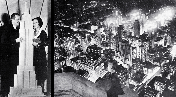 empire state building, manhattan, 350 fifth avenue, new york city, worlds tallest building, iconic, art deco, skyscraper, office tower, city lights, lit up, 1931, actors, movie stars, james dunn, sally eilers, broadway, great white way, architect model,