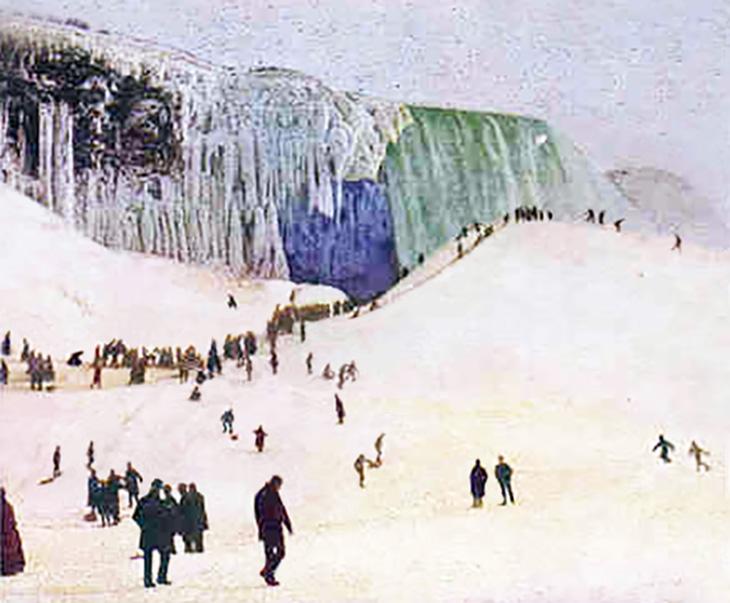 niagara ice bridge, niagara falls, ontario, canada, new york, united states, snow, winter, waterfalls, 1903, colour photo, vintage, old, toboggans,