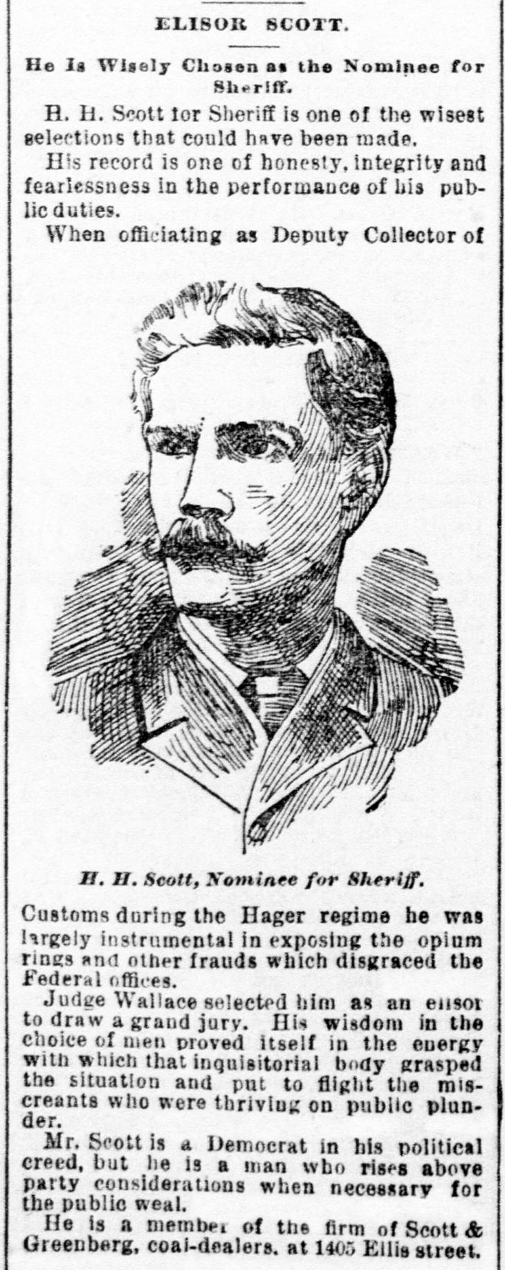 henry harrison scott, henry h scott, merican businessman, san francisco elections, 1892, politics, sheriff, elko county, father of mary crittenden scott,