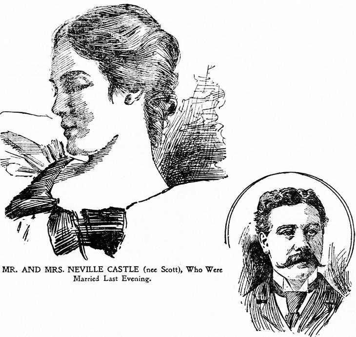 mary scott, american actress, san francisco, mary crittenden scott, mary castle, 1897, edwardian era, wedding, married, neville castle, san jose, lawyer,