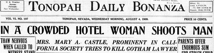 mary scott castle, mrs neville castle, american actress, august 1909, new york city, manhattan, waldorf astoria hotel, william craig, shooting, tonopah daily bonanza